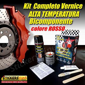 Kit-Vernice-Pinze-Freno-Alta-Temperatura-BICOMPONENTE-Colore-ROSSO-Tuning-Auto