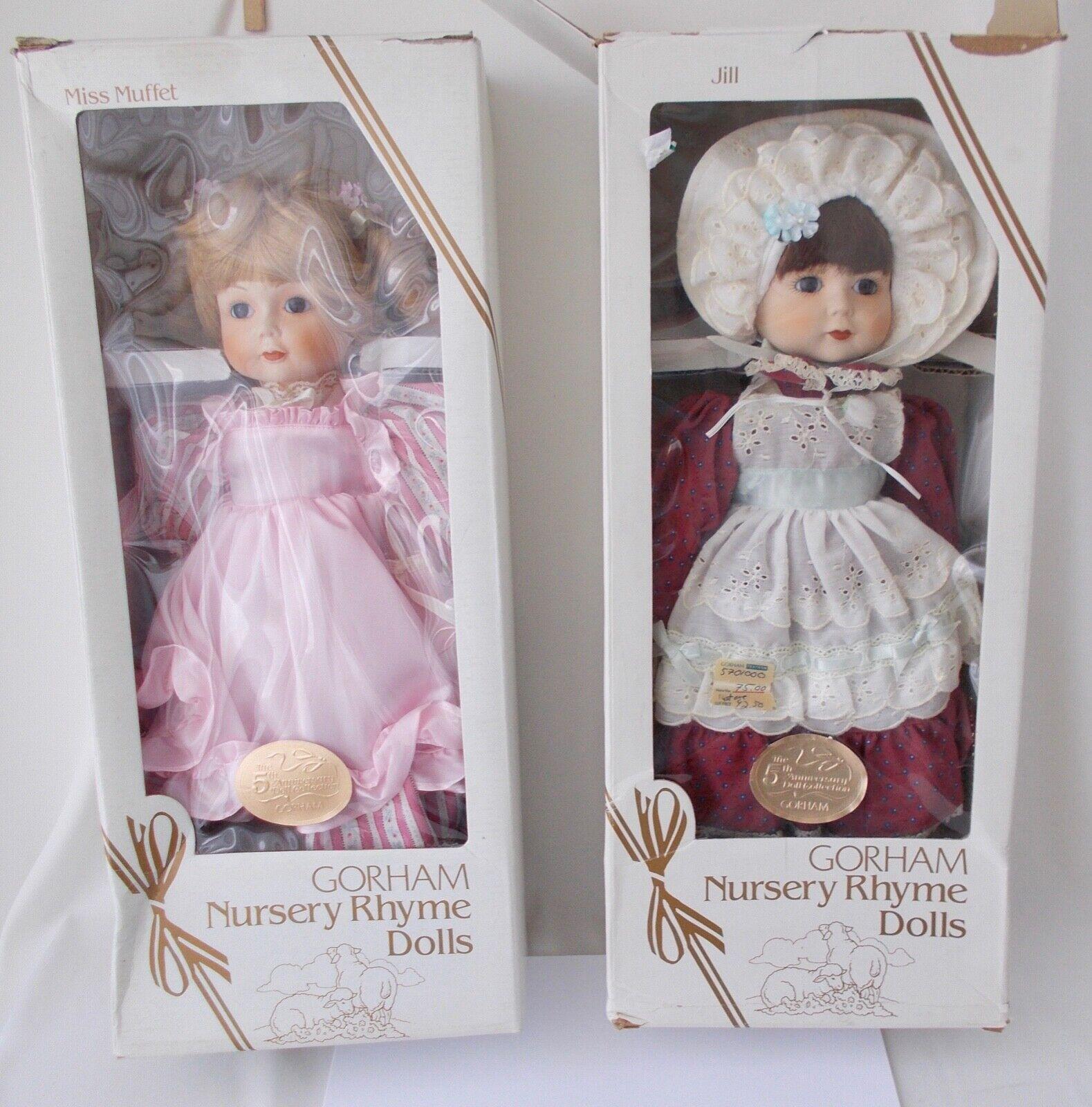 2 GORHAM Nursery Rhyme Musical bambolas   Miss Muffet & JillUnused in scatolaes  basso prezzo del 40%