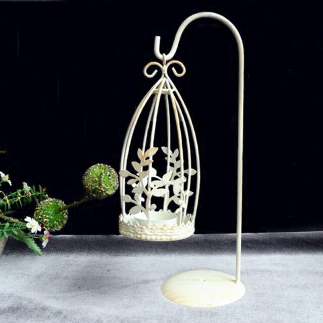 White Metal Candlestick Candle Holder Tealight Iron Lantern Wedding Decoration