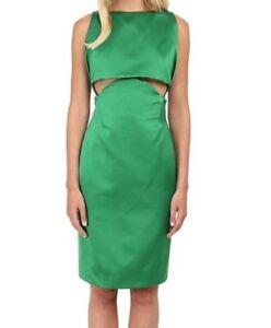 2b84b7dc9dc ZAC POSEN Kelly Green Catin Cocktail Dress Cut Out Pencil Skirt Sz 8 ...