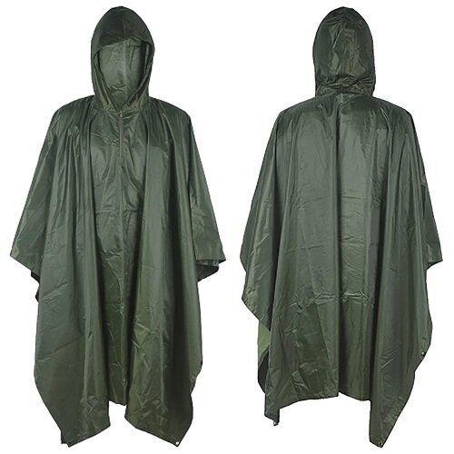 Waterproof Hooded Camping Hunting Poncho Raincoat Rain Cover Tent Mat Hiking AU
