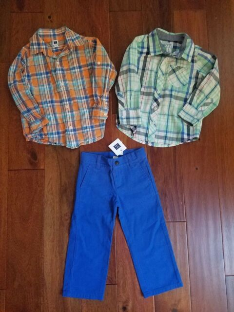 6b80607c9 Lot Janie and Jack Boy's Winter Button Front Shirts Blue Pants Clothes Set  2T 3T
