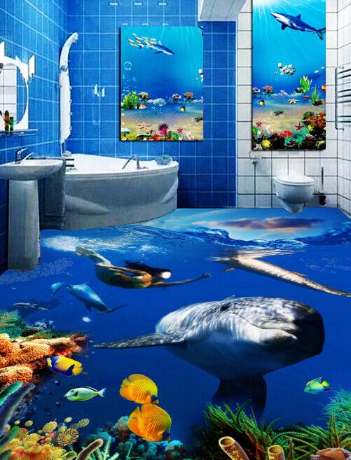 3D Ocean Dolphins 534 Floor WallPaper Murals Wall Print 5D AJ WALLPAPER UK Lemon