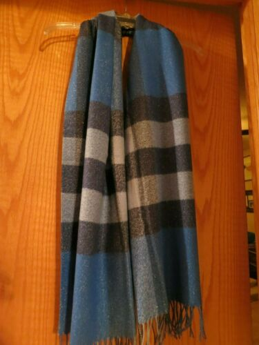 Sparkles TALBOTS Oblong écharpe-bleu Plaid 72 in environ 182.88 cm