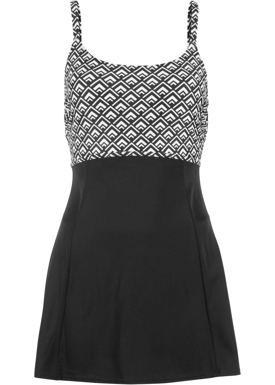 Klassisches Badekleid im schönen Design Gr. 42 Schwarz Weiß Damen Bade-Kleid Neu