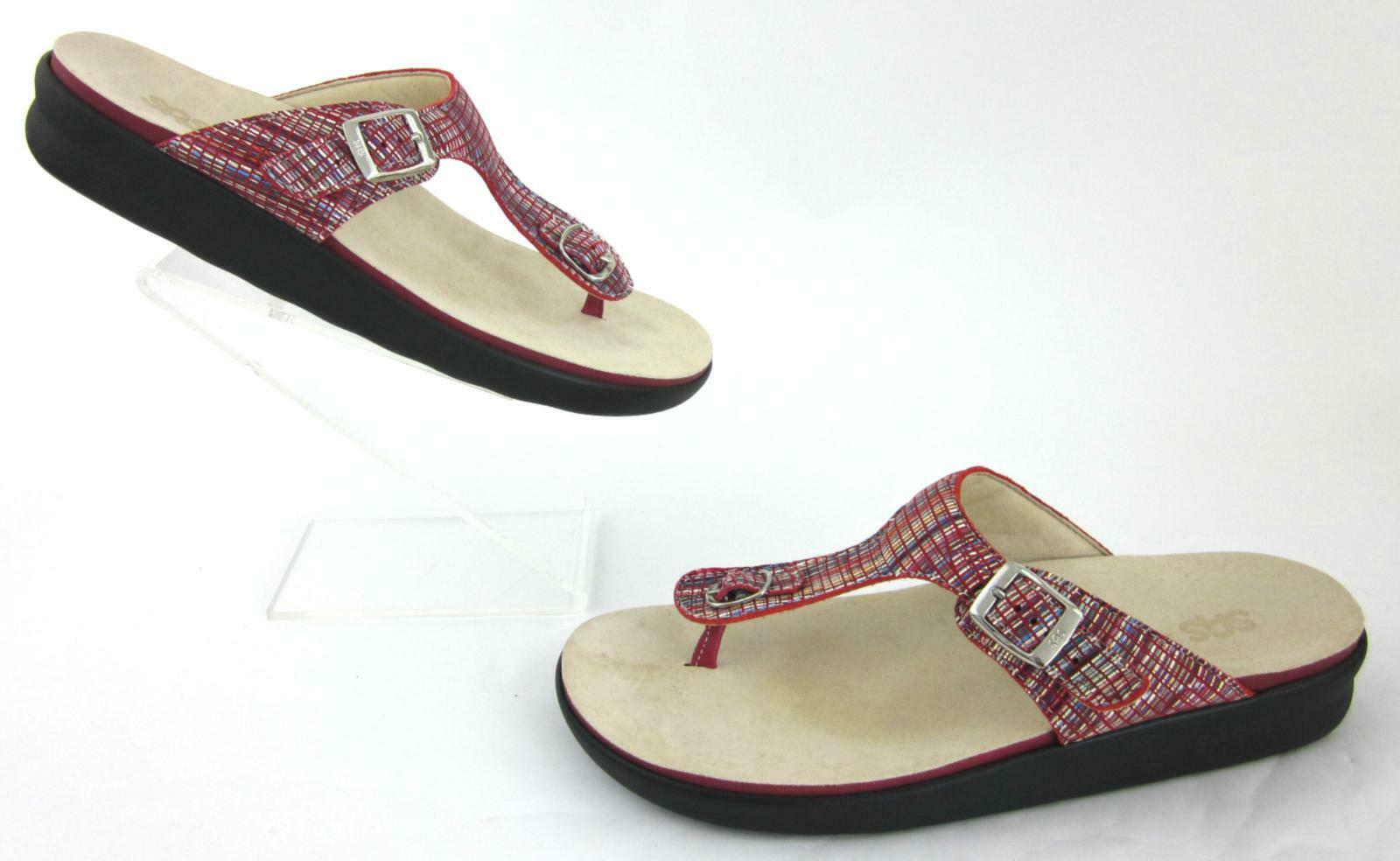 SAS 'Sanibel' Toe Post Sandals Rainbow Red Leather US 12M Mint Condition