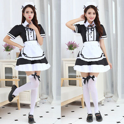 Cosplay Women Men Cafe Maid Uniform Dress Costume Japanese Lolita S-5XL Gown A35