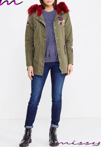 NEW Womens LADIES PARKA JACKET LONG Sleeves WINTER COAT EMBROIDERED Size 8-16