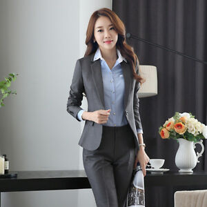 Black Gray Women Suits Formal Blazers Pant Coat Office Dress Suit