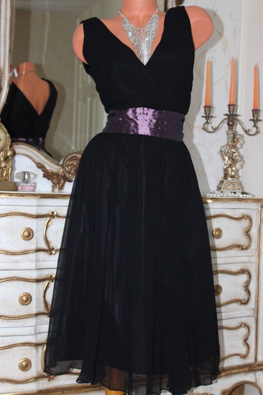NANCYMAC Ladies schwarz 100% Silk Dress Größe 12