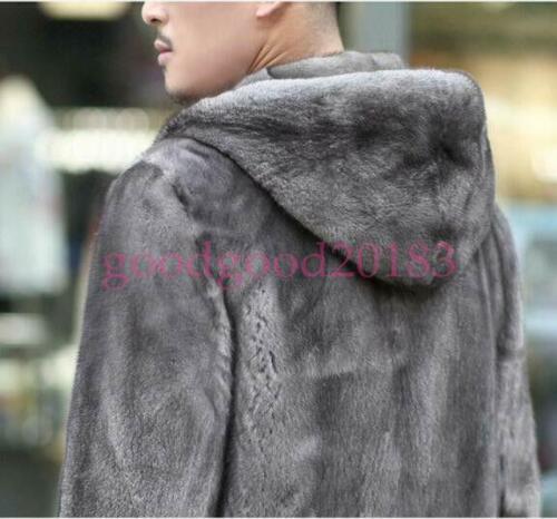 Warm Winter Mens Hoodie Faux Mink Fur Outwear Coats Parka Furry Hooded Jacket