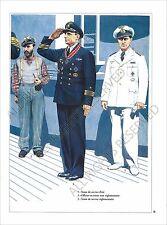 PLANCHE UNIFORMS PRINT WWII Kriegsmarine marine guerre Submarine U-Boot Officers