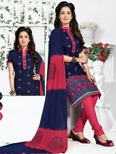 Embroidered Cotton Unstitched Dress Material With Chiffon Dupatta D.No NSF2013