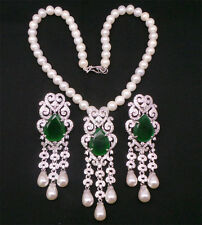 Simulated Cubic Diamond Emerald Pearl Gorgeous Necklace Set 421 0N 7