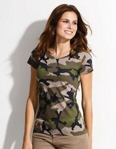 T-Shirt Woman 3-Color Woodland Camo US Army GR S-XXL Summer Top Shirt