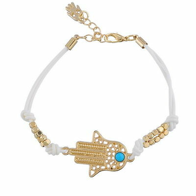 White handmade HAMSA BRACELET . . .Good Luck Against Evil Eye String Kaballah
