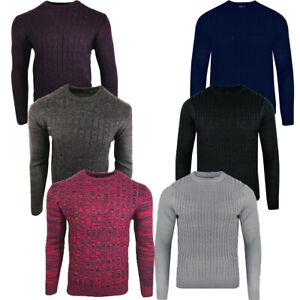 Men-039-s-Sweatshirt-Knitwear-Cable-Sweater-Jumper-Round-Neck-Long-Sleeve-5-Color