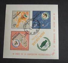 Burundi 1965 International Cooperation Year MS188a Miniature sheet used map