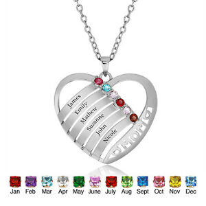 Family-Names-Birthstone-Necklace-Mothers-Heart-Pendants-Family-Anniversary-Gift