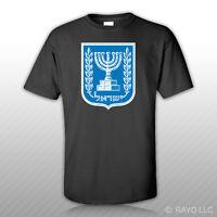 Israeli Coat Of Arms T-shirt Tee Shirt Free Sticker Israel Flag Isr Il