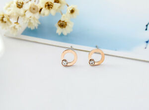 NEW-Lady-18K-Rose-Gold-Plated-8MM-Cute-Crystal-Round-Hoop-Stud-Earrings-Jewelry