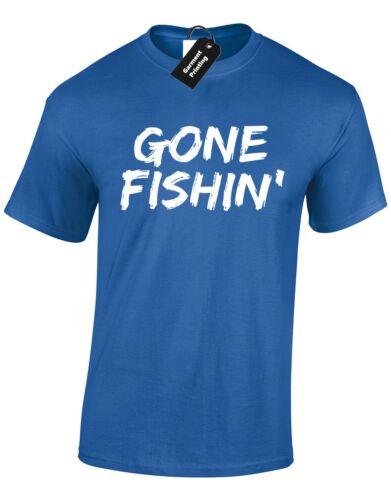 GONE FISHIN MENS T SHIRT FISHING FISHERMAN GIFT PRESENT IDEA CARP PIKE ANGLER