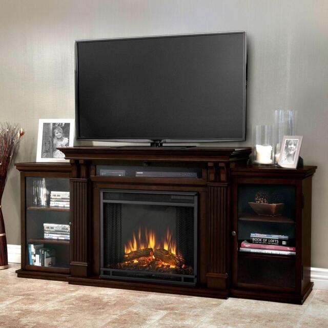 Real Flame Calie Dark Walnut Entertainment Center Gel Fireplace