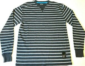 BILLABONG-Thermal-Long-Sleeve-T-Shirt-Men-039-s-L-Knit-Woven-Sweater-Surf-Stripe-Tee