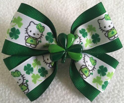 "Girls Hair Bow 4/"" Wide Hello Kitty St Patrick/'s Shamrock Flatback Frnch Barrette"