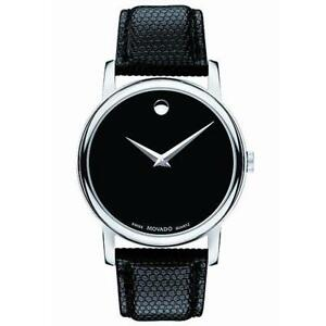Movado-2100002-Men-039-s-Black-Dial-Museum-Quartz-Leather-Strap-Watch-40mm