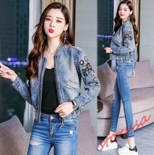 Womens Slim Fit Short Denim Jacket Long Jeans embroidery Floral Casual Coats