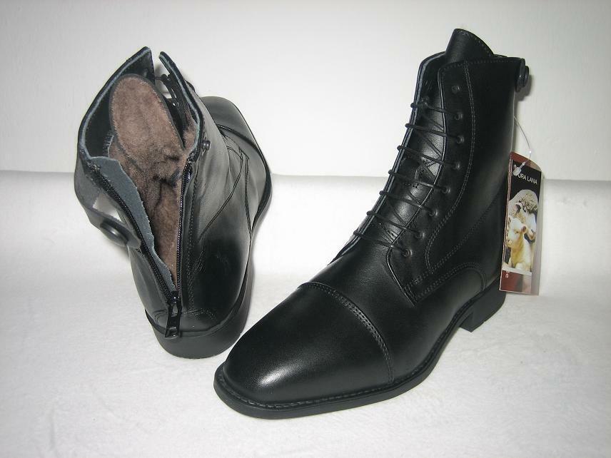 AACHEN WINTER echtes Lammfell Reitstiefeletten Leder schwarz Größe 35 - 47