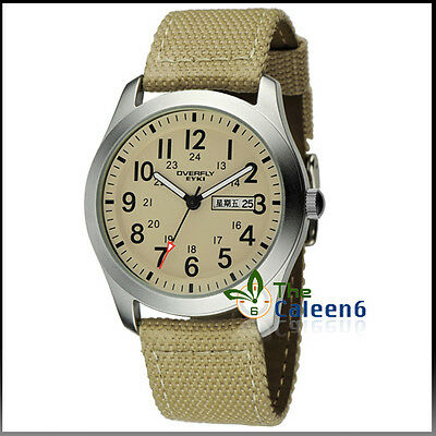 KEP US EYKI Mens Quartz Wrist Watch Date PU Leather Week Dial Water Denim Watch