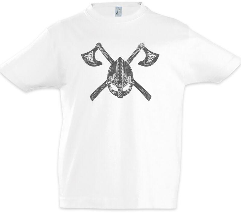 Viking Helmet & Axes Boys T-shirt Vikings Axe Valhalla Odin Odhin Norsemen