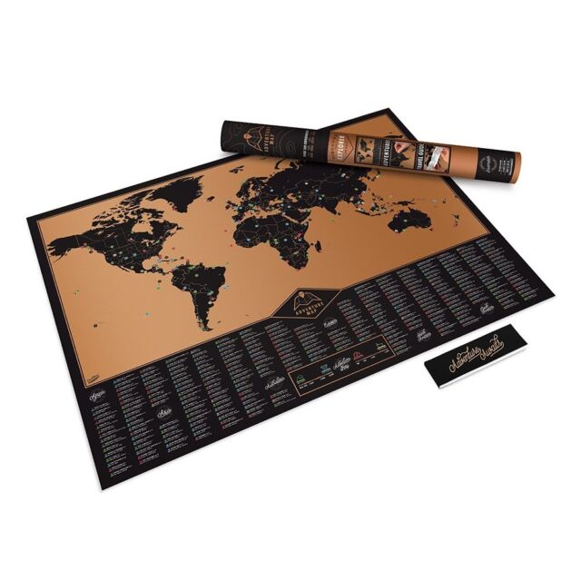 Adventure Scratch Map Of The World Explorer Globe Scratchable Black Gold NEW
