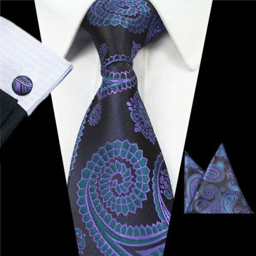 Men/'s Wedding Party Woven Silk Tie Handkerchief Cufflink Set Blue Black Paisley