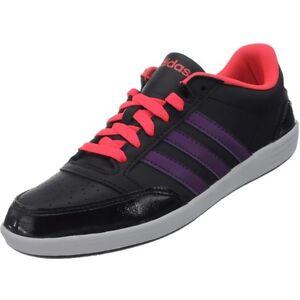 Adidas-VLNeo-Hoops-Low-Damen-Freizeitschuhe-schwarz-lila-neonrot-Sneaker-NEU