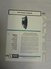 Vtg Original Altec 755E Pancake Loudspeaker Speaker Specification Sheet (A3)