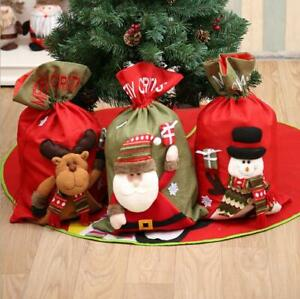 New Christmas Xmas Canvas Hessian Felt Santa Sack Candy Gifts Stocking Bag Kids