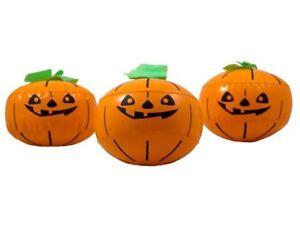Kürbis aufblasbar 3er Set Deko Halloween Pumpkin Aufblaskürbis 15 cm