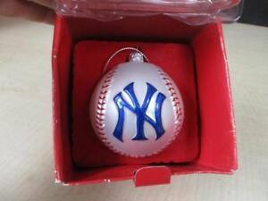 NY NEW YORK YANKEES BASEBALL SC CHRISTMAS ORNAMENT BLOWN ...