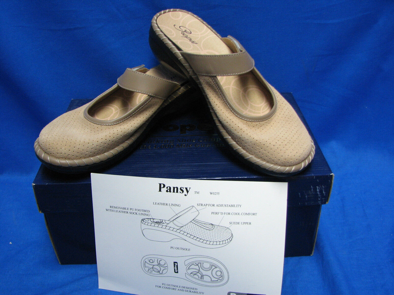 Propet donna Pansy Warm Taupe W0255 Tan Marronee 9 M(B) Slip on Clog scarpe