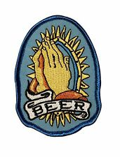 """""""Beer"""" Prayer Hands Alcoholic Worship Novelty Embroidered Iron On Applique Patch"""
