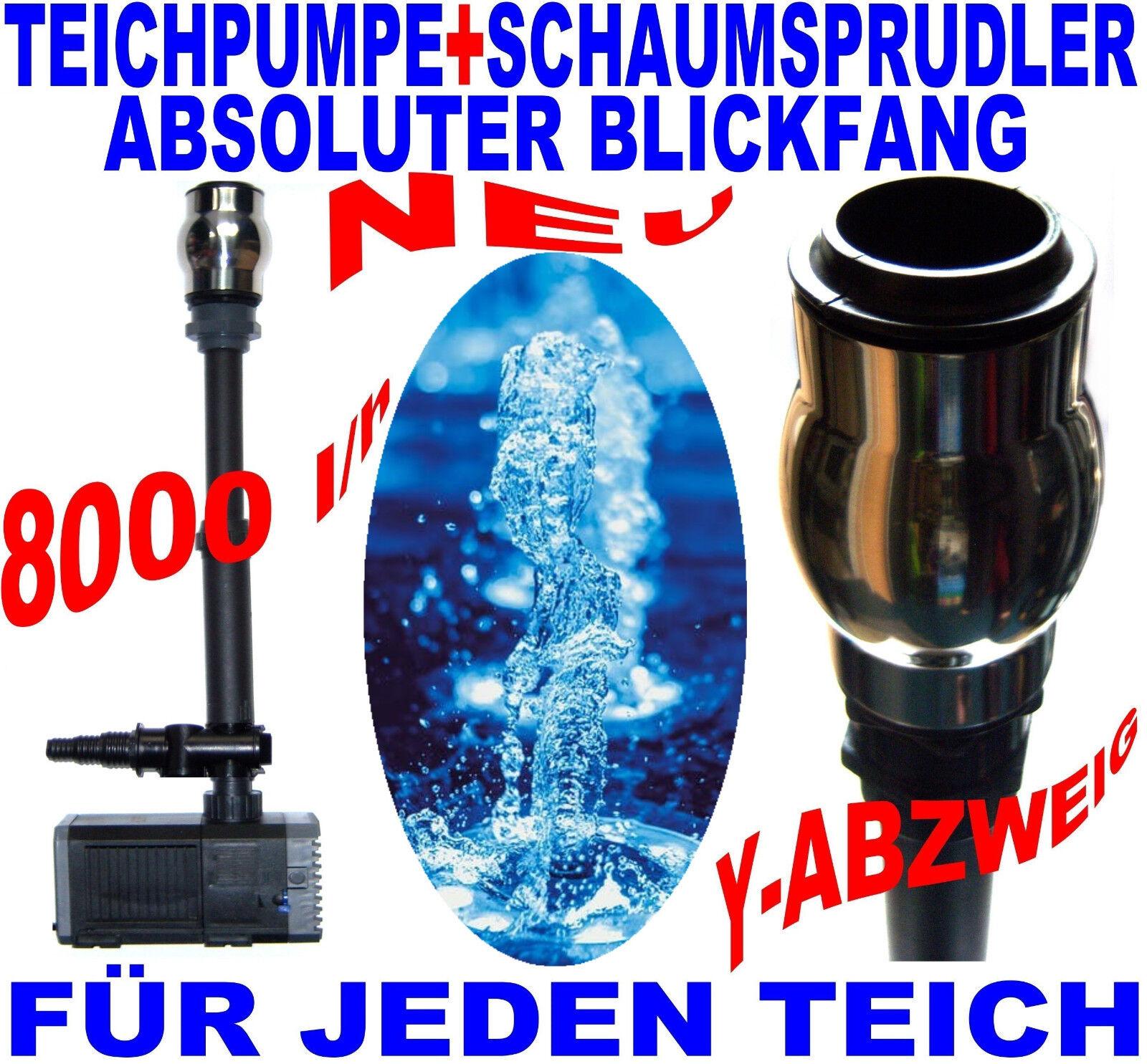 Gigantes 8000 l h bomba estanque + surtidor + schaumsprudler + y-ramificación estanque Nuevo