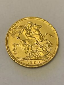 1893 22ct Gold Victoria M Melbourne Full Sovereign - 7.98g High Grade