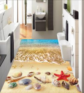 3D playa de arena Mar Piso impresión de parojo de papel pintado mural 51 5D AJ Wallpaper Reino Unido Limón