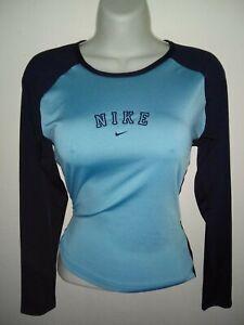 cosa rodear Definir  Nike De Mujer Azul y Negro Athletic Top Talla Mediana Manga Larga   eBay