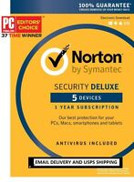 Norton Security Deluxe 3.0 2017 - 5 Devices - Email Delivery - Delivery