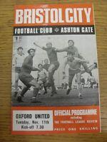 11/11/1969 Bristol City v Oxford United  (Slight mark on front). Thanks for view