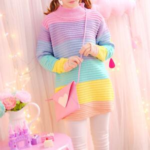 edbf55c8394ff9 Image is loading Women-Girls-Sweet-Jumper-Sweater-Turtleneck-Rainbow-Loose-
